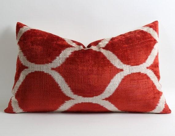 Red Ikat Velvet Pillow Cover Lumbar Pillow Red White Pillow