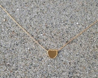 Gold Heart Necklace, Tiny Heart, 16k Gold, Satin Finish, Tiny Heart Necklace