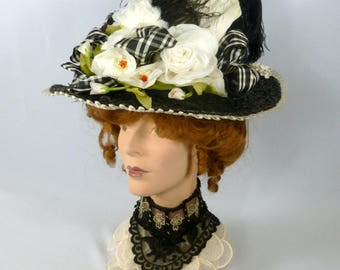 Victorian Reproduction Straw Picture Hat 1800 to1900s Edwardian - Handmade -Vintage Silk Flowers - Ostrich Feathers  SASS Reenactors Costume