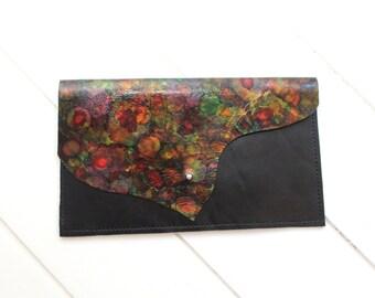 Multicoloured Clutch Bag, Purse, Shoulder Bag. Hand Painted Leather