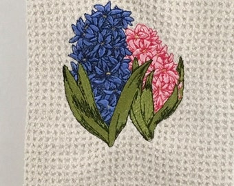 Hyacinth Flowers - Blue and Pink - Microfiber Hand Towel - Cream