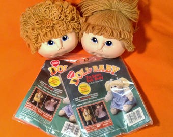 Pair of Cabbage Patch Kid Doll Heads with Premade Bodies - Boy & Girl - 1984 Fibre Craft