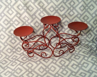 Burnt Red Metal Triple Candle Holder - Three Candle Holders on Ornate Spiral Stand - Rustic, Wrought Table Centerpiece or Mantle Piece