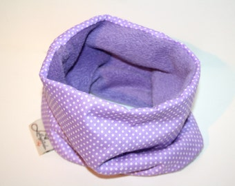 Dogs loop tube scarf lilac with dots