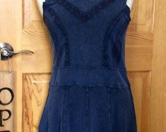 Beautiful Organic Cotton Sleeveless Dress,Artisan Made denim dress,My Peruvian Treasures,Fair Trade Summer Dress,Handmade in Peru,Pima dress