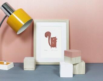 Squirrel | Linoprint, linocut, lino, linoleum, print, art, wood, forest, animals, cute, printmaking, limited edition, nursery, brown, A5