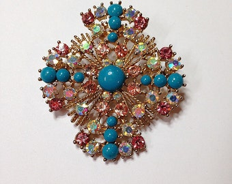 Large Vintage Rhinestone Turquoise Brooch-Gold-Blue- Rhinestones-1980s Vintage Charm-Jewelry Component, Mixed Media component, Pin
