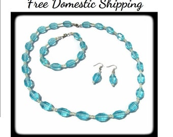 Vintage Necklace Set, Glass Necklace Set, Teal Necklace Set, Bead Parure Set, Teal Earrings, Teal Bracelet, Long Necklace, Free US Shipping