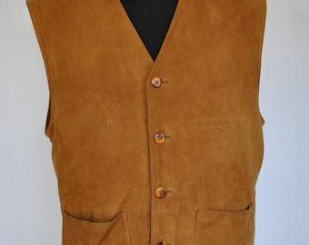 Vintage SUEDE LEATHER VEST , men's leather vest.........(063)