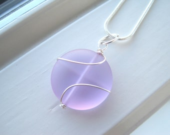 Periwinkle Necklace - Purple Necklace - Recycled Glass Necklace - Periwinkle Jewelry - Purple Pendant - Wire Wrapped Necklace