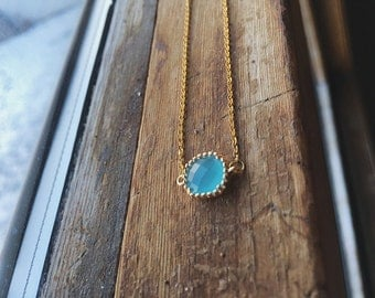 Blue Necklace, Seafoam Necklace, Crystal Necklace, Gold Necklace, Blue Seafoam Necklace, Minimalist Necklace, Everyday Necklace, Layering