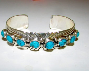 Navajo Sterling Silver Turquoise Cuff Bracelet Native American Signed Kingman Mine Turquoise