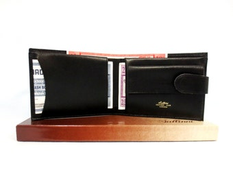 "Sullinni Black Leather Billfold Wallet Duo Fold Snap Closure 4-1/2"" x 3-1/2"" Closed Made in Canada Leather Accessories New in Box"