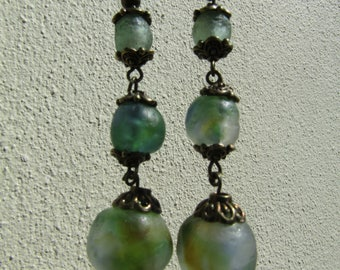 Hand made earrings recycled Krobo glass beads from Ghana