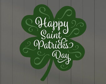 Happy Saint Patrick's Day Clover Wall Sticker