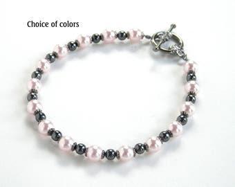 Swarovski Pearl Bracelet - Pearls and Gunmetal - Single Strand Bracelet - Toggle Bracelet - Wedding Bracelet - Bridesmaid Jewelry - PlusSize