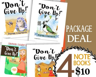 Don't Give Up! Convention (Package Deal ~ 4 CHILDREN'S NOTEBOOKS) DIGITAL pdf File Download -Mini, Junior, Middling and Standard