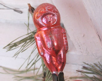 Soviet Christmas tree decoration, Astronaut Christmas Glass Ornament on clip - Made in USSR