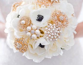 Custom Anemone Rose Silk Flower Bouquet, Gold Brooch Bouquet, Real Touch Artificial Bouquet, Bridal Bouquet, Greenery, Faux Bouquet, Gatsy