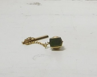 Green Aventurine or Jade Tie Tack with Bar Gold Tone Signed 'S' Vintage Tie tack with Chain and Bar