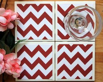 Handmade Coasters - Red Coasters - Chevron Coasters - Coasters - Drink Coasters - Tile Coasters - Ceramic Coasters - Ceramic Tile Coasters