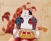 White Yakuza sumo cat enamel pin_cat enamel pin_pingame_cats gift_cat fashion_sumo_tatoo_cat_cat pin_cat brooch_kawaii_japanese_japan pin