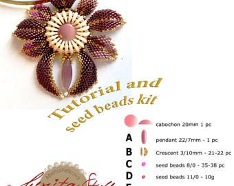 Tutorial KIt Beads Embroidery Necklace, Tutorial Kit Beadwork Embroidery Necklace, Beaded Tutorial and Kit, Bead Jewelry Crescent beads IT
