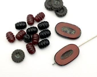 18 Picasso Czech glass beads mix,10mm to 26mm #PV 143