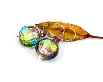 Everyday Earrings, Beaded Earrings, Purple Dangle Earrings, Pink Crystal Earrings, Simple Earrings, Sterling Silver Earrings, Green Earrings