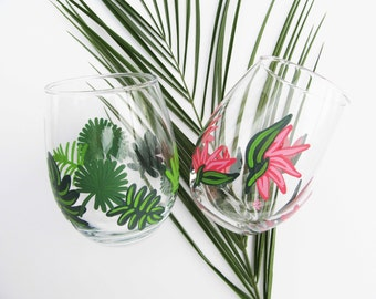 Tropical Wine Glass Set of 2 | FREE SHIPPING