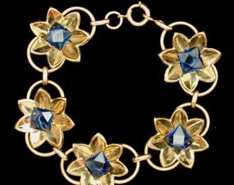 Floral Link Bracelet with Blue Stones Vintage