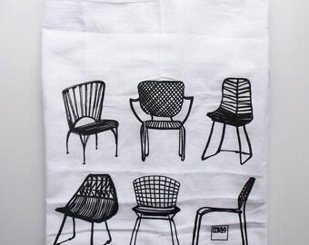 Modern Chairs Screen Printed Tea Towel Cotton Flour Sack - 28x29 inches