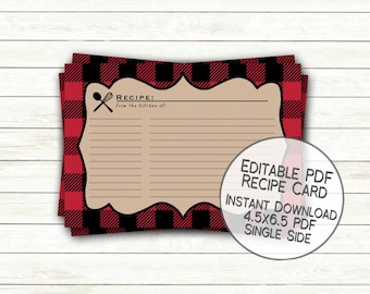 Buffalo Plaid Christmas Recipe Card Printable | Holiday Cookie Swap Party Cookie Exchange Cookie Decorating Instant Download editable PDF