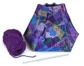 yarn bowl knitting bowl yarn keeper in purple, teal and green peacock colours gift for knitter or crocheter