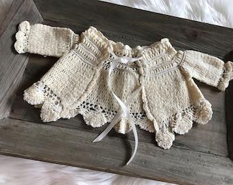 Vintage Lace Newborn Sweater/Vintage Infant Cape/Baby Photo Prop/Vintage Crochet Newborn Jacket/Delicate Vintage Baby Sweater//Ready to Ship