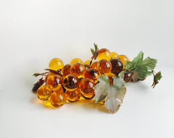 Vintage Gold Lucite Glass Grapes on Driftwood / Mid-Century / Fall Decor