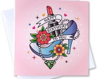 Happy Birthday - Art Card,  Vintage, Rockabilly style traditional tattoo design