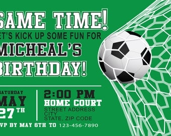 Soccer Birthday Party, PRINTED invites