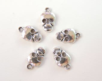 Skull Charms 5 pc., Metal Charms, Tibetan Silver Charms, DIY Jewelry Making Charms, Bracelet Anklet Charms.