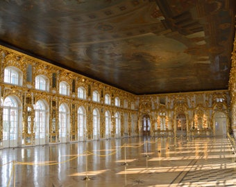 Travel Photography - Instant Download Summer Palace Great Hall St. Petersburg Russia JPEG | Digital Printable Photo