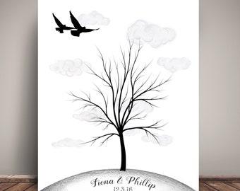 Wedding Guest Book Thumbprint Tree - Guest Book Poster - Wedding Guest Book Alternative