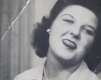 A deadly Tongue - Silly 1940's Beautiful Young Woman Sticks Out Her Tongue Photo Booth Photo - Free Shipping