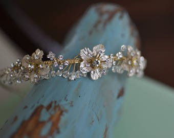 Bridal Wedding Halo/ Headband/ Tiara with Glass Beads,  and Rhinestone Crystals Vintage style