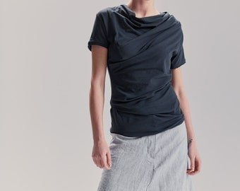 Muted Blue Top/ Short Sleeved Drape Blouse/ Womens Asymmetrical Top by AryaSense/ TZVKR16MB