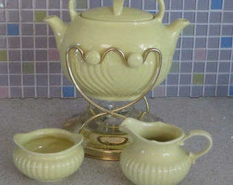 Vintage retro Hall China Forman family yellow kitchen pottery tip pot dual double spout teapot with holder warming stand cream & sugar set