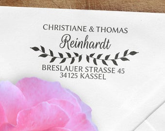 Address stamp, wooden stamp, 60x30mm, branches, custom, customized, individually, rectangular stamp, address, ADREST