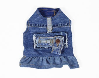 Distressed Jean Button Ring Patch Ruffle Skirt Migrubbie Denim Small Dog Harness Upcycled Repurposed Blue Jean Girl Dog Dress Ready to Ship