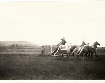 Vintage Snapshot Photo ~ 1927 Rocky Mountain Rodeo ~ Ben Hur Chariot