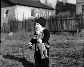 Vintage Photography NEGATIVE ~ cute toy teddy bear