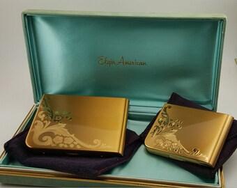 Elgin American Compact, Elgin Compact Set, Elgin Cigarette Case, Elgin American Vanity Compact, Vintage Compact, Vintage Powder Compact, NOS